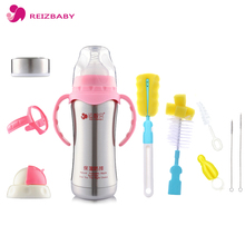 10Pcs/set Baby Bottle Stainless Steel Thermo Bottle Brush Set Vacuum Insulation Nipple Straw Brush Cleaning Milk Bottle Cleaner(China)