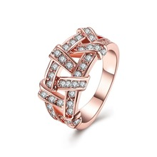 Top quality Rose Gold colour Weave Ring Health Jewelry Nickel Free K Golden Plating CZ zircon(China)