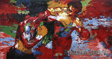 "Abstract Artists Paintings repro by Leroy Neiman ""Rocky vs Apollo"" Sports Movie Poster Hand Painted OIL PAINTING on Canvas"