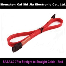 "18"" Red Sleeved SATA 3.0 III SATA3 High Speed 6GB/s Straight to Straight HDD Hard Drive Data Cable"