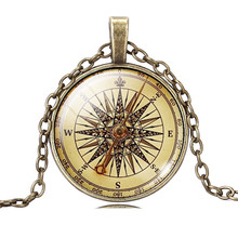 Vintage Jewelry Sliver / Bronze Color Compass Glass Cabochon Necklace Pendant for Christmas Gift