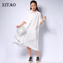 Buy XITAO Korea 2017 summer easing three-dimensional flowers gauze splicing short-sleeved turn collar knee length dress LL138 for $24.85 in AliExpress store