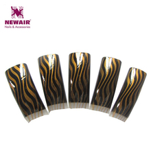 Free Shipping 70pcs French Airbrushed Cracking Design False Nail Tips Gold and Black Makeup Half Cover Professional Nail Art Tip