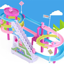 Cartoon Piggy Climb the Stairs Toy Music Electric Orbit Toy Climb Toy Funny Electronic Toys for Kids Baby(China)