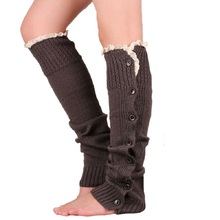 2016 Brand New wool leg warmers Hollow out warm knee set of buttons Knit boot cuffs socks
