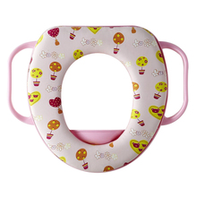 baby toilet seat safty soft travel potty with handles cartoon pattern waterproof confortable portable child toilet seat