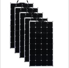 100 Watt Monocrystalline Semi Flexible Bendable Solar Panel 200W for RV,Caravan,Cart ,Motorhome 12v battery kit