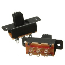 Newest 5Pcs  0.5A 50V DC Vertical Black Mini Miniature On/On 6 Pins Terminals Slide Switch DPDT Promotion Price