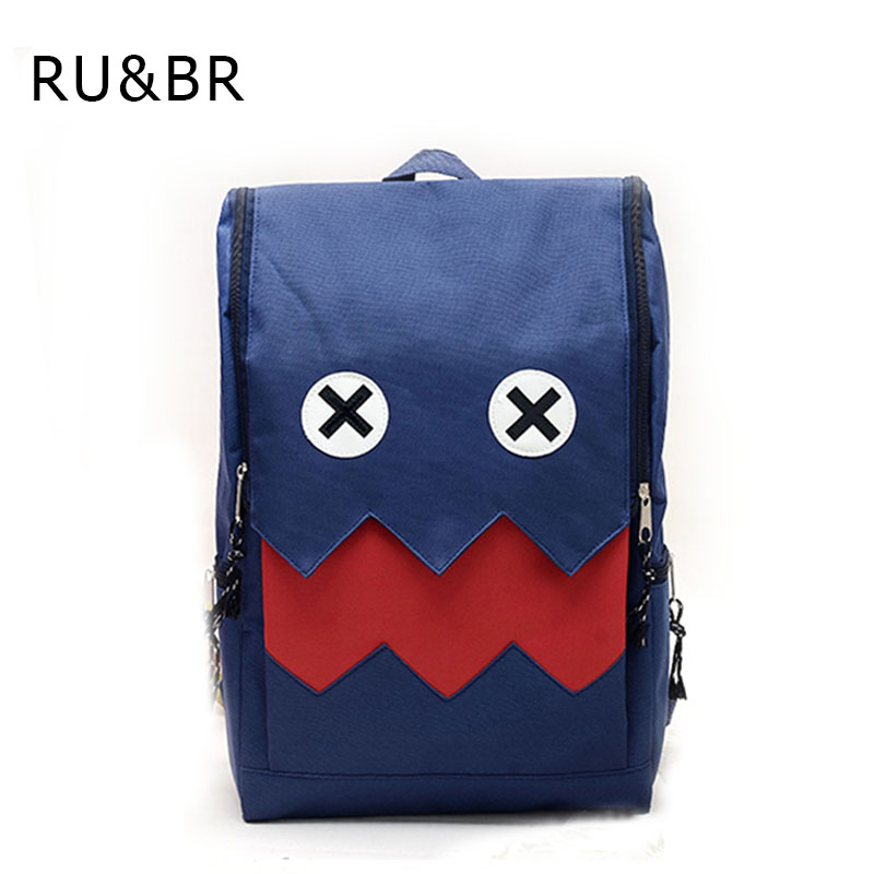 RU&amp;BR New Style Fashion Backpack For Teenage Girls Boys Cute Cartoon Monster Pattern Canvas Material School Bag Travel Backpack<br><br>Aliexpress