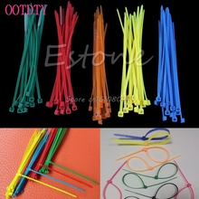 100Pcs Colorful Nylon Plastic Zip Trim Wrap Cable Loop Ties Wire Self-Locking #S018Y# High Quality