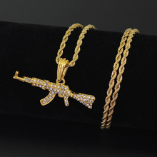 Fashion Cool AK47 Gun Pendant Necklace European Hip Hop Jewelry Stainless Steel Chain N644(China)