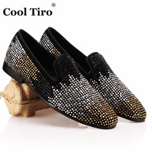 COOL TIRO White Gold Gradient Rhinestones Loafers Slipper Smoking Party Black Suede Dress Shoes Genuine Leather Men's Flats(China)