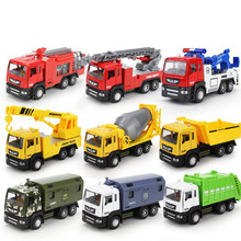 1:50 High simulation engineering vehicles, alloy pull back Water tank fire truck,Engineering transporter,free shipping(China)