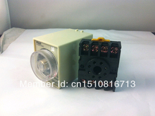 1PCS 220V 110V AC 24V 12V DC Power Off Delay Timer Time Relay 0-3 Minute 3M ST3PF with Base(China)
