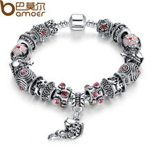 BAMOER Drop Shipping Fish Charm Bracelet Tibetan Silver Murano Glass For Women Fashion European Style Jewelry PA1236(China)