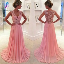 New Arriva Chiffonl Long Prom Dress Sleeveless Sexy Sheer V-Neck Pink Evening Dresses with Appliques