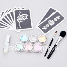 2sets- Wholesale - c glitter tattoo Kit 6 color powder with stencil glue brush supply