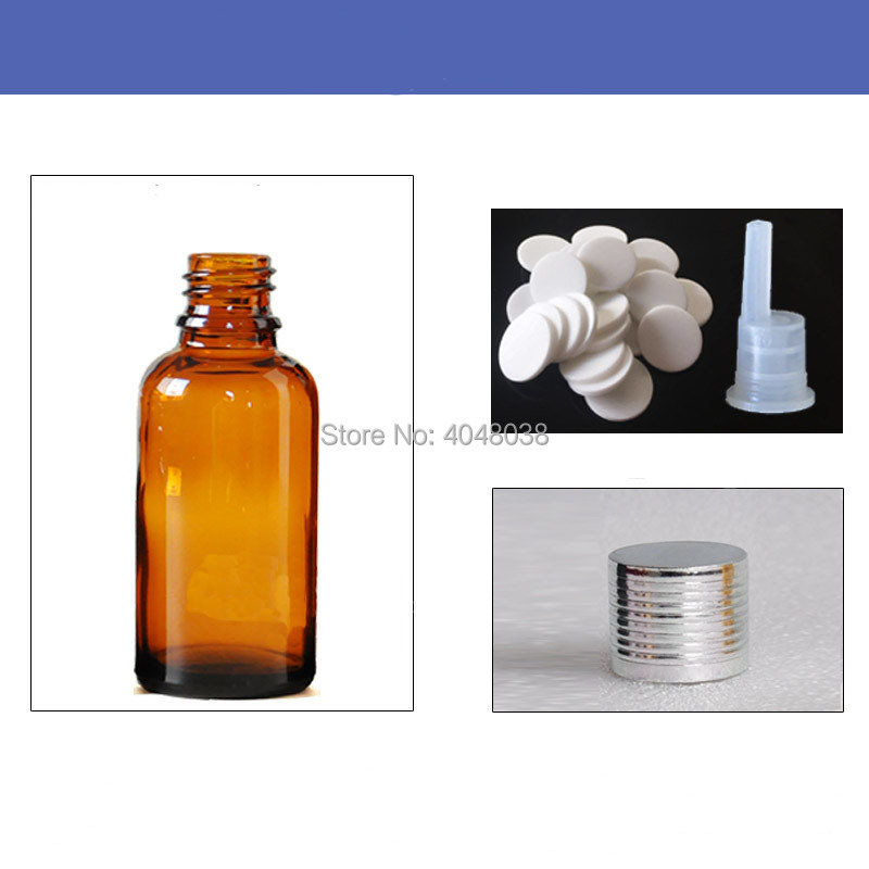 30 pcs Essential Oil Bottle Glass Perfume Aroma Vial with Inner Plug Empty Medicinal Bottle Silver Thread Cap Cosmetic Container (3)