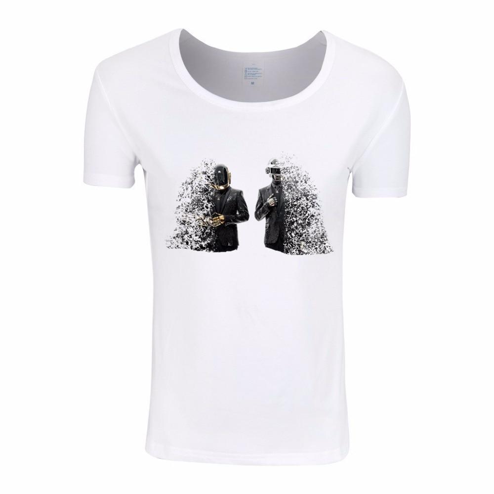 Asian Size, WOMEN Daft punk Duo DJ Techno Music T-shirt Short sleeve O-Neck White Electronic Music Tshirt Swag T shirt HWP312