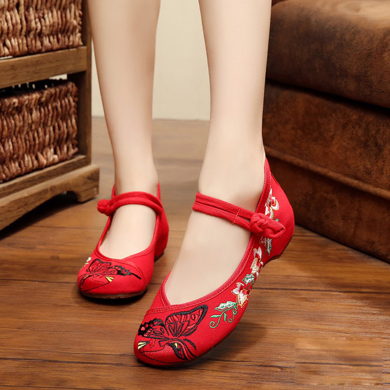 New summer exquisite Butterfly Embroidery Fashion Chinese style cotton shoes for women chaussure femme ladies flats shoes<br><br>Aliexpress