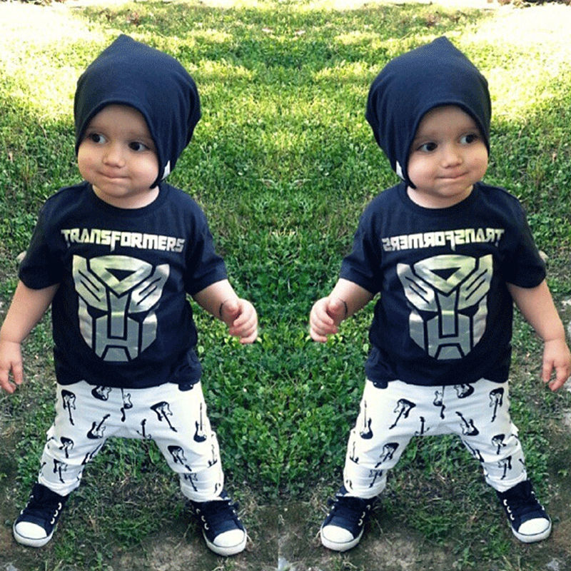 2PCS Newborn Baby Children Boy Clothing Sets Summer Cute Cartoon Tiger T Shirt + Long Pants Outfits Suits Costume New 1 2 3 4 5Y<br><br>Aliexpress