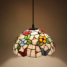 12 Inch Flesh Country Flowers butterfly Tiffany pendant light Stained Glass Lamp for Bedroom E27 110-240V(China)