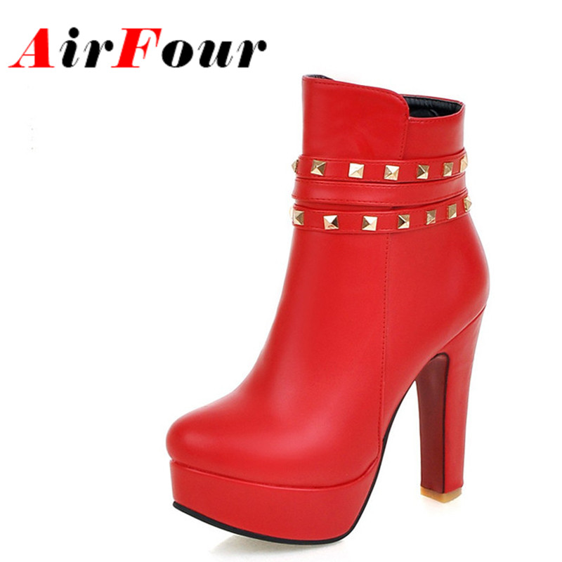 Airfour Size 34-43 Winter Ankle Boots for Women High Heels Sexy Red White Shoes Woman Rivets Charms Round Toe Motorcycle Boots<br><br>Aliexpress