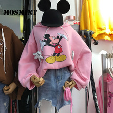 MOSMINT Mickey Cartoon Character Print Pullover and Hoodie Women 2017 Autumn Winter Thick Fleece Sweatshirts Female Warm Tops(China)