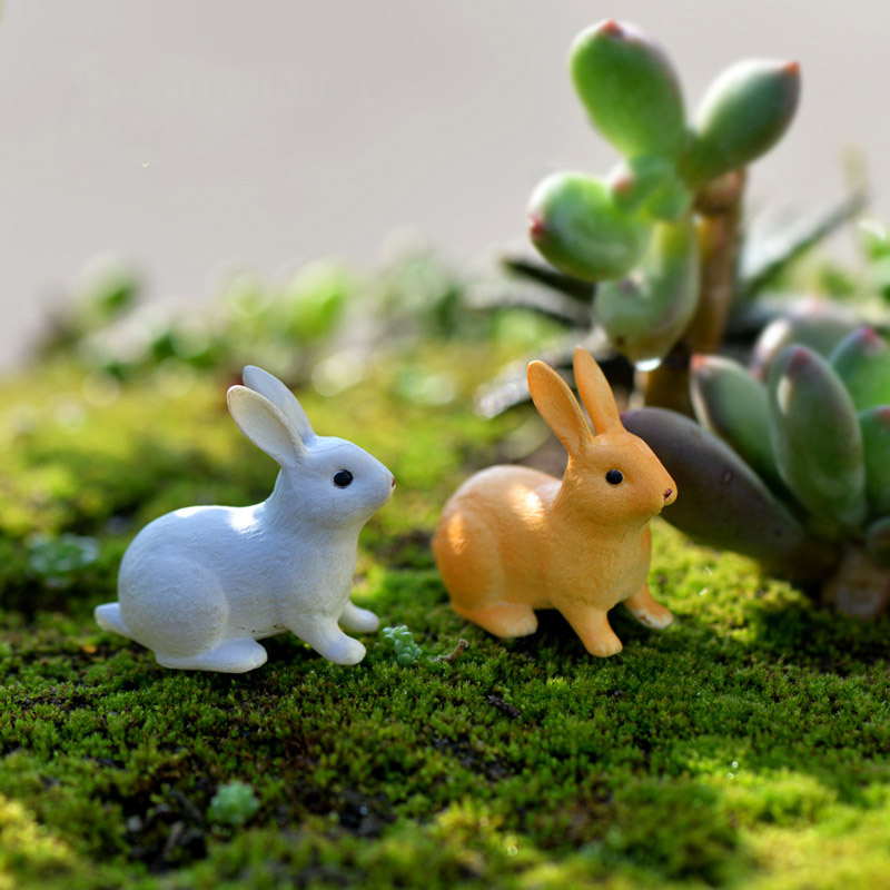 UK 2Pcs Easter Bunny Ornament Resin Fairy Garden Decoration Lovely Toy
