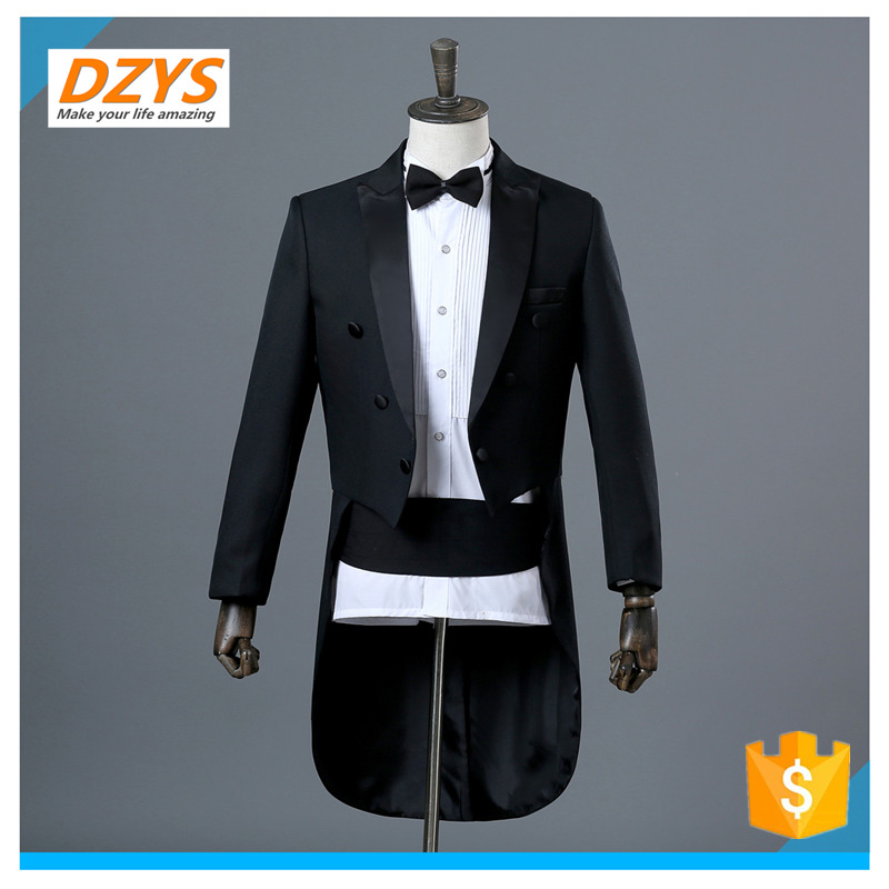 DZYS Men's Dress Tuxedo Magic Show Conductor Belly Singer Costume Jazz Set Dance Competition