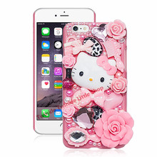 Cute Hello Kitty Crystal Pearl 3D Case For iPhone Hard Back Cover Phone Cases For apple iphone For iphone X(China)