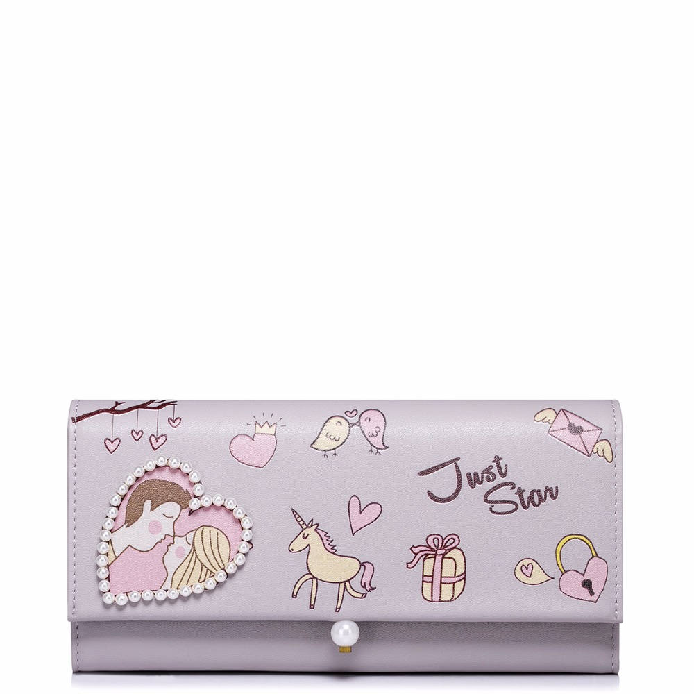 2017 New Fashion Romantic Love Printing Pearls PU Women Leather Girls Ladies Long Fold Wallets Cards Holder Purse Clutches<br>