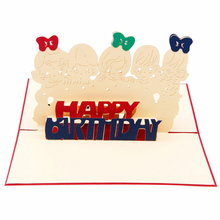 Birthday Greeting Card Post Card Paper Carving Hollow Postcard 3d Pop Up Cards Birthday Greeting Card For Kids Friends JK0148