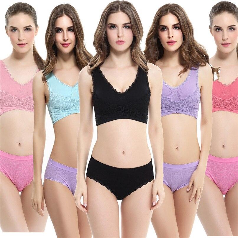 Women Sports Bra Sports Underwear Fitness Yoga Running Pad Cropped Top Sports Wear Tank Tops Anti-Sweat Lace Bra #3j#F (6)