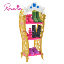 Rosana Kids Playhouse Shoes Rack For Barbie Doll Storage Racks For Monster High Dolls Furniture For Barbie Doll Best Gift(China)