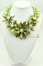 N14110112 green MOP shell pearl flower necklace