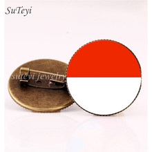 SUTEYI Indonesia/Jordan Flag Badges Pins Brooch Vietnam/China Flag Glass Dome Brooches Women Clothing Accessories Gift Jewelry(China)