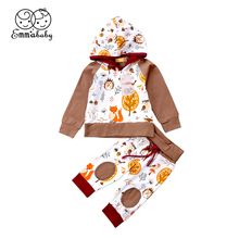 Fashion Infant Kids Baby Boy Girl Clothes Set Long Sleeve Hoodie Sweater + Long Animal Pants Child Boys Girls Clothes 0-24M(China)