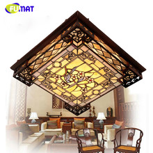FUMAT Art Ceiling Lamp European Style LED Rectangle Ceiling Lights Classic Stained Glass Light Fixtures Living Room Restaurant