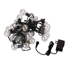 G40 25 LED Copper Wire Light String Glass Bulbs Decoration Warm White US Plug