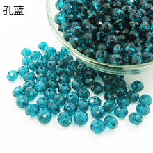 DIY Crystal Charms Beads 6mm Bracelet Necklace Craft Handmade Glass Circle Faceted Lucency Shiny Blue Jewelry Accessories 3 sets(China)