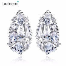 LUOTEEMI 2017 New Hot Charming Cubic Zirconia Big Waterdrop Stud Earrings for Women Jewellery Free Shipping Brincos Bijoux(China)