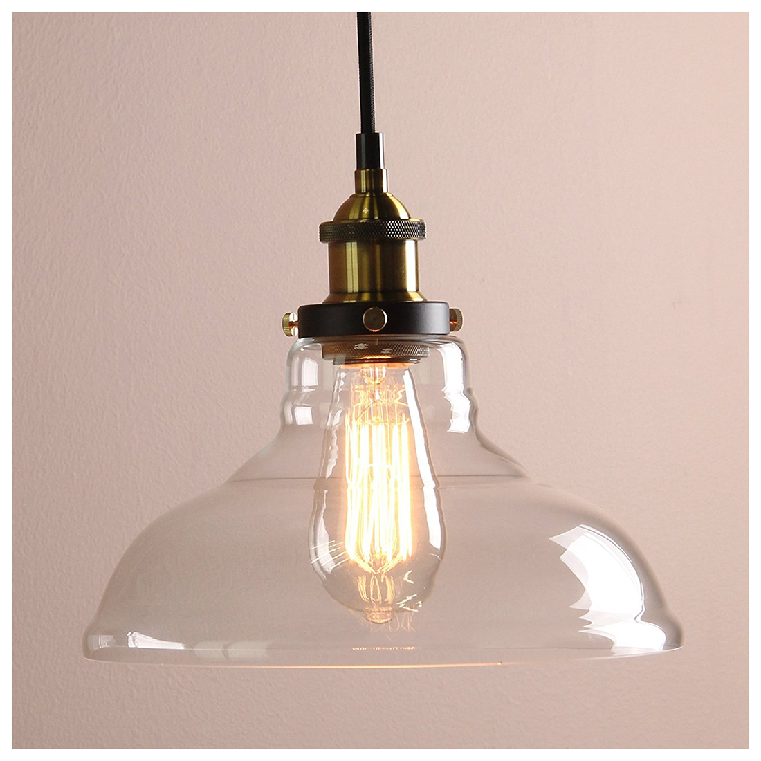 Modern Vintage Amber Industrial 1 Light Iron Body Glass Shade Loft Coffee Bar Kitchen cover Chandeliers Hanging Pendant Lamp L<br>