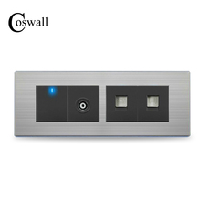 COSWALL TV Port +Telephone Outlet + RJ45 Internet Socket With 1 Gang 2 Way Wall Light Switch Stainless Steel Panel 197 * 72mm