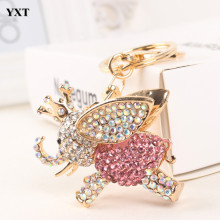 Flying Elephant Pink Big Wing Ear Charm Cute Pendant Crystal Purse Bag Keyring Key Chain Women In Apparel & Accessories Elegant