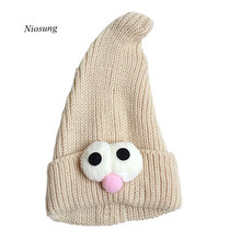 Niosung Cute Unisex Baby Toddler 8 months-3Y Big Eye Print Spinous Vertical Knitted Winter Warm Hat Cap Girls Boys Beanie Cap v