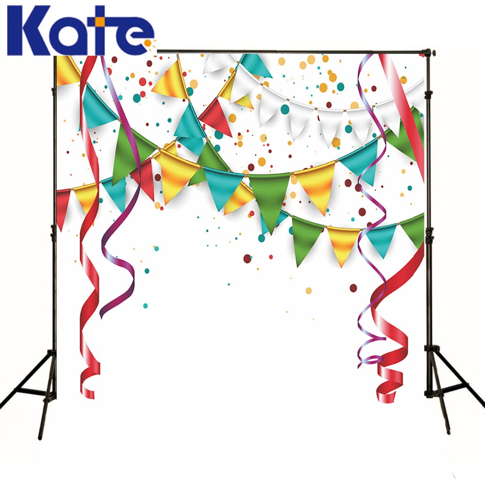 Kate Happy Birthday Theme Photography Studio Backdrop Colorful Banner Fireworks Tassel Photo Booth Backdrop Also For New Year<br>