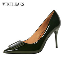 patent leather square buckle pointed toe high heels sexy shoes woman zapatos de mujer de moda 2017 women shoes high heel pumps(China)