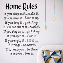 Chinese Factory Design Home Rules Wall Sticker Text Living Room Decorative Removable Vinyl Art Wall Decal