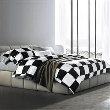 Modern Design Black and White Plaid Striped Star Polka Dot Bedding Set Queen Size Duvet Cover Bed Sheets Cotton Textiles Sets
